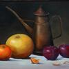 "Still Life With Grapefruit, Oil on Wood Panel, 18"" x 24"", Collection of Brenda Reichelderfer"