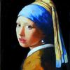 "Girl after Vermeer, Oi on Wood Panel, 5"" x 7""  Private Collection"